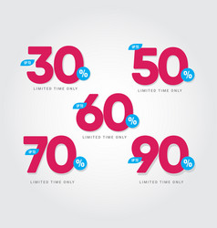 Discount up to 30 50 60 70 90 limited time only vector