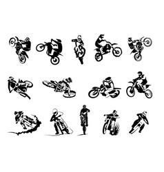 extreme bike big set 14x motocross vector image