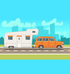 family rv camping trailer on road country vector image
