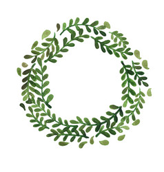 Fern forest wreath in circle frame watercolor vector