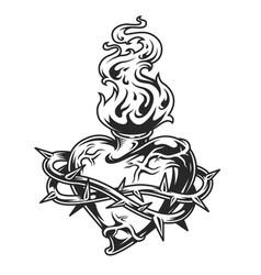 Fiery heart in barbed wire vector