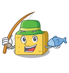 fishing gouda cheese pieces cartoon vector image