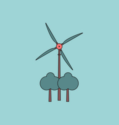 Flat icon design collection wind turbine between vector