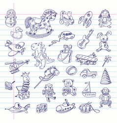 Freehand drawing retro toys items vector