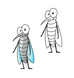 Friendly smiling cartoon gray mosquito vector image