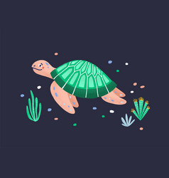 Funny amusing sea turtle isolated on dark vector