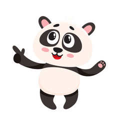 funny smiling baby panda character pointing to vector image