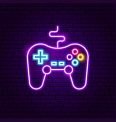 Game console neon sign vector