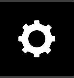 gear icon on black background black flat style vector image