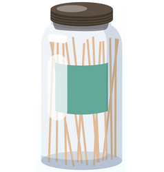 Glass jar with airtight seal wood lid and blank vector