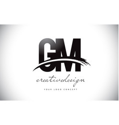 Gm g m letter logo design with swoosh and black vector