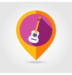 Guitar Beach flat mapping pin icon vector image