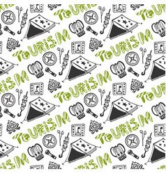 Hand drawn seamless pattern with camping holiday vector