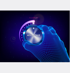 Hand man tuning power control knob vector