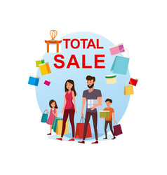 happy family shopping on total sale flat vector image