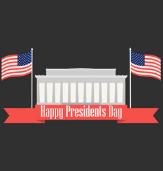 happy presidents day banner with american flag vector image
