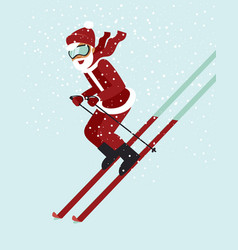 Happy santa skiing down a mountain vector