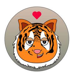 happy tiger icon with love emotions animal icon vector image