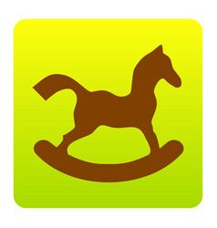 horse toy sign brown icon at green-yellow vector image