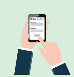 human hands using mobile banking on smartphone vector image
