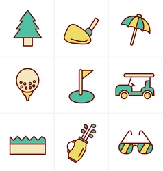 Icons Style golf Icons Set Design vector image