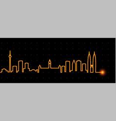 Kuala lumpur light streak skyline vector