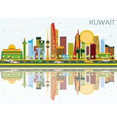 Kuwait Skyline with Color Buildings vector