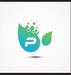 leaf design with p letter symbol design minimalist vector image
