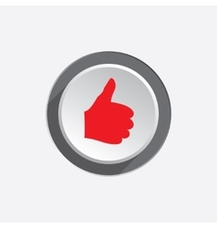Like hand icon Thumb up good symbol Red sign on vector
