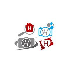 Logotype h modern template set vector