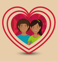 lovers couple in heart avatars characters vector image