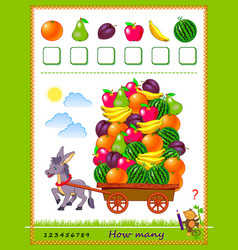 Math education for children how many fruits vector