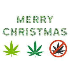 merry christmas caption mosaic of hemp leaves vector image
