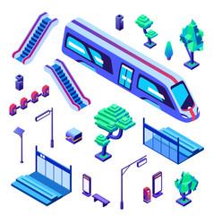 Metro train station isometric vector