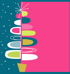Midcentury modern abstract christmas tree design vector