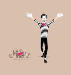 Mime performance - Open arms vector image
