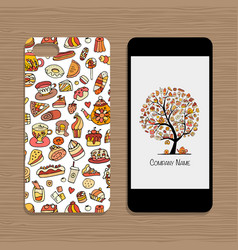 Mobile phone cover design idea for sweets shop vector