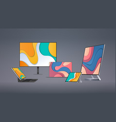 modern computer monitor tablet laptop with colored vector image