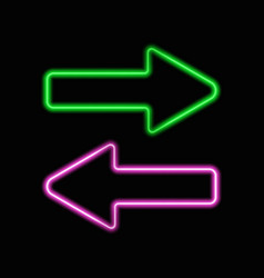 neon arrows set isolated on black background vector image