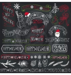 New year decoration labelsribbonslettering vector image