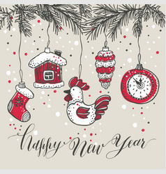 New years toys hand drawn style greeting card vector