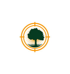 Oak tree center icon vector