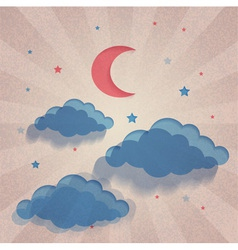 Old paper background with moon stars and sea vector image