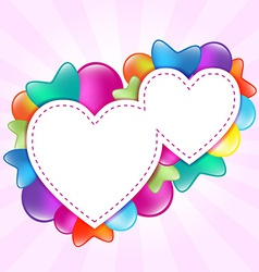 paper hearts with colored balloons vector image