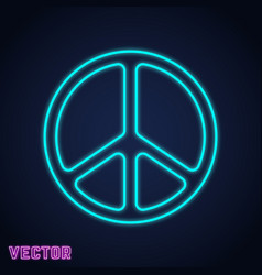 Peace symbol neon light design vector