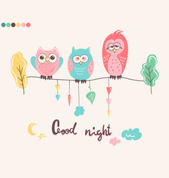 print with cute owls and phrase good night for vector image