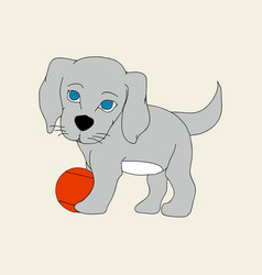 Puppy dog and ball vector