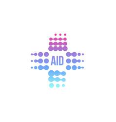 purple abstract aid cross logo medical vector image