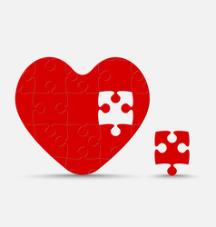 Red piece puzzle heart jigsaw love romantic vector