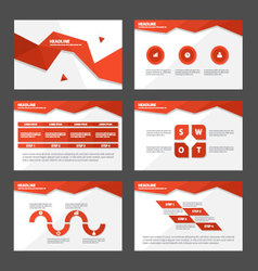 Red polygon presentation templates Infographic set vector